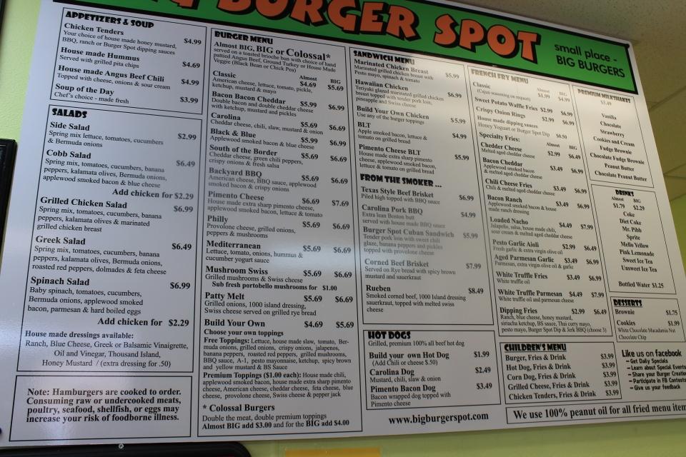 Big Burger Spot, Greensboro, Menu, triadfoodies