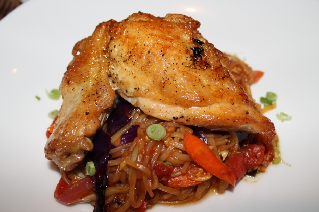 Roast Chicken with rice noodles, The Bistro at Adams Farm