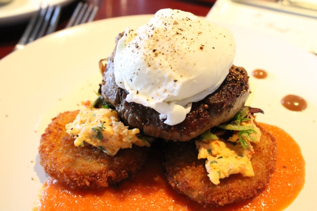 Napolean of beef tenderloin, poached egg on fried green tomatoes