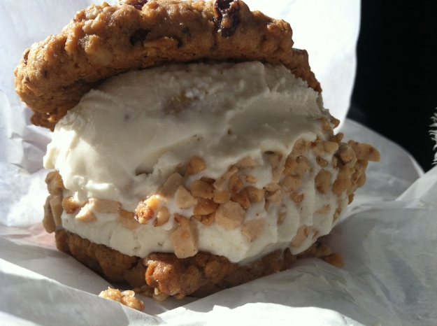 Nutty McCrunch (Oatmeal raisin cookie with butter pecan ice cream and toffee crunch)