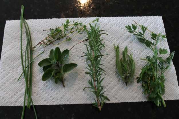 Chives, oregano, rosemary hyme, lavender, parsley