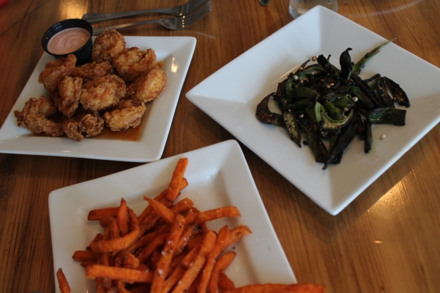 Thai shrimp, okra, sweet potato fries