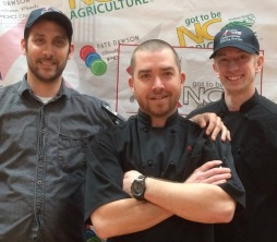 Exec Chef Scott Schabot (center), flanked by sous chefs Keith Calise and Tad Balio